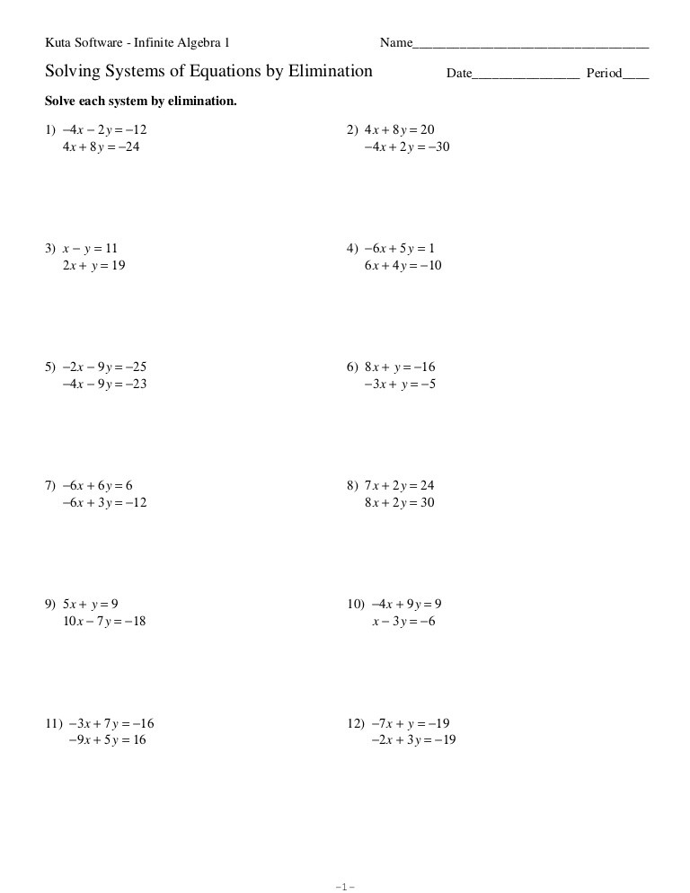 Solving Systems Of Equations Worksheet Systems Of Equations Elimination