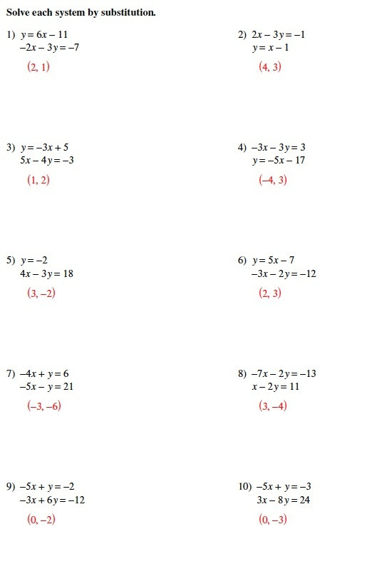 Solving Systems Of Equations Worksheet Warrayat Instructional Unit
