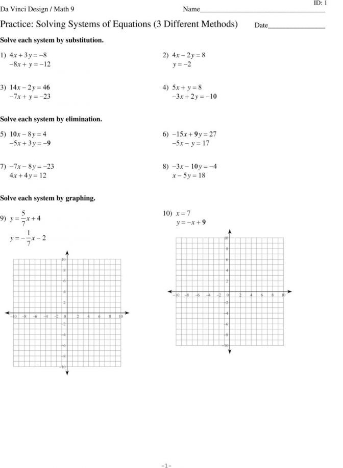 Solving Systems Of Equations Worksheet Worksheets 41 solving System Equations by Substitution