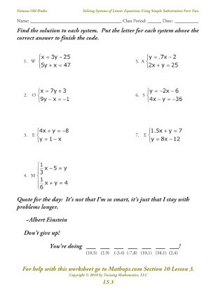 Solving Systems Of Equations Worksheet Writing Systems Of Equations Homework Answers