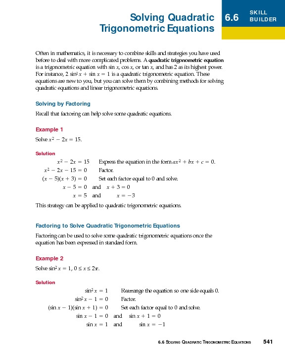 Solving Trig Equations Worksheet solving Quadratic Trigonometric Equations Worksheet for 10th