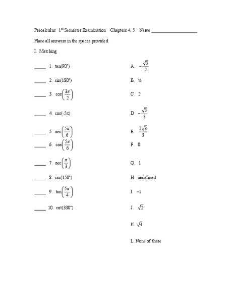 Solving Trigonometric Equations Worksheet Answers Evaluating Trig Equations and solving Trig Identities