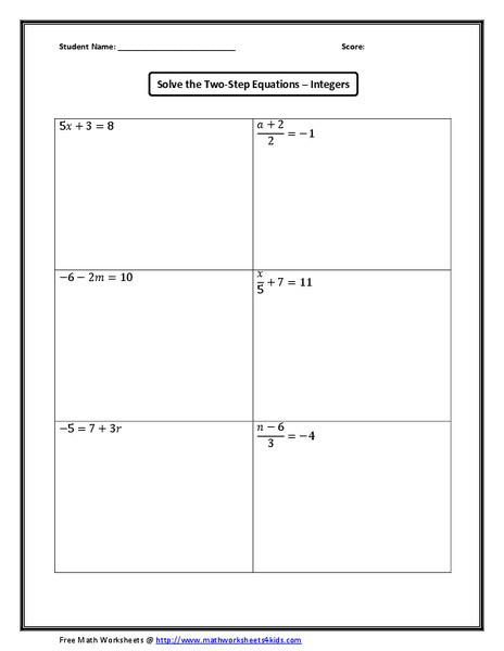 Solving Two Step Equations Worksheet solve the Two Step Equations – Integers Worksheet for 5th