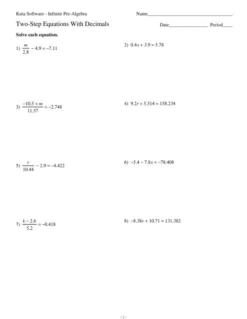 Solving Two Step Equations Worksheet Two Step Equations with Decimals Kuta software