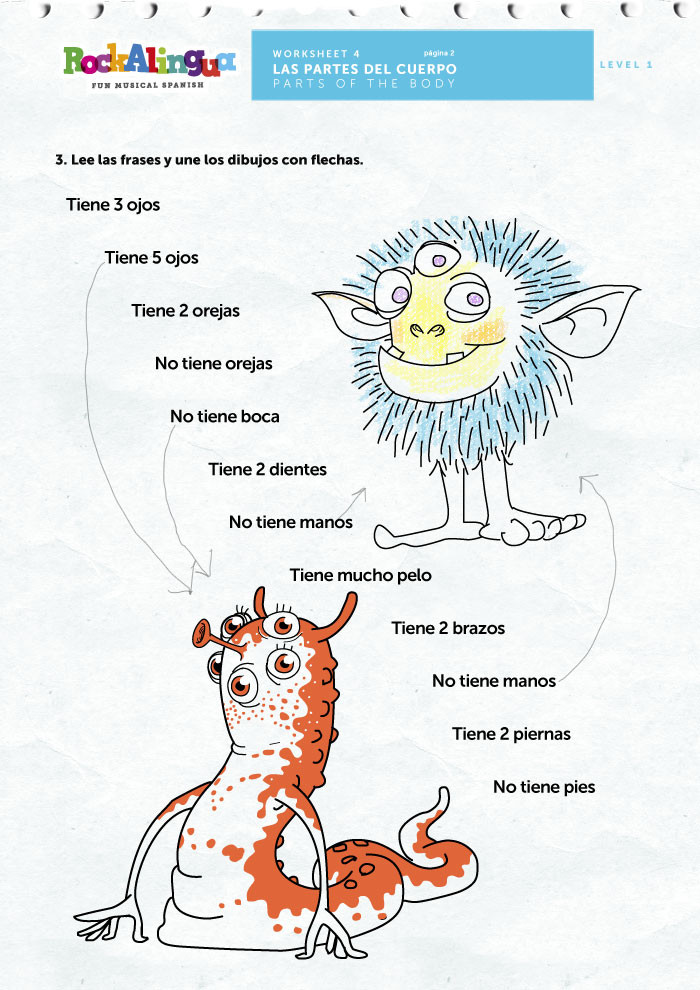 Spanish Body Parts Worksheet Spanish Worksheet to Teach Parts Of the Body