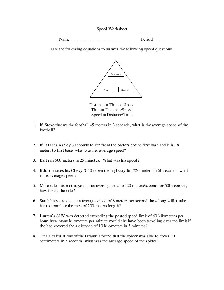 Speed Time and Distance Worksheet Chapter 2 Speed Worksheet