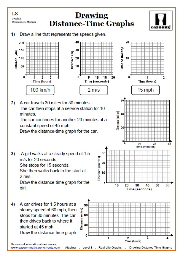 Speed Time and Distance Worksheet Real Life Graphs Worksheets