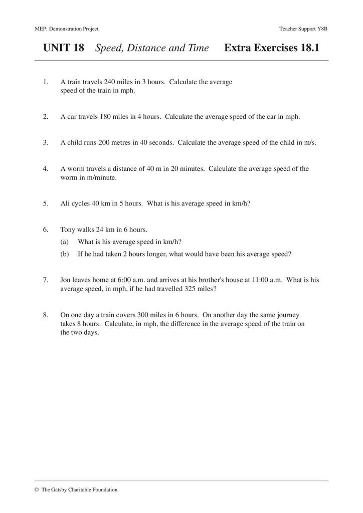 Speed Time and Distance Worksheet Speed Distance and Time