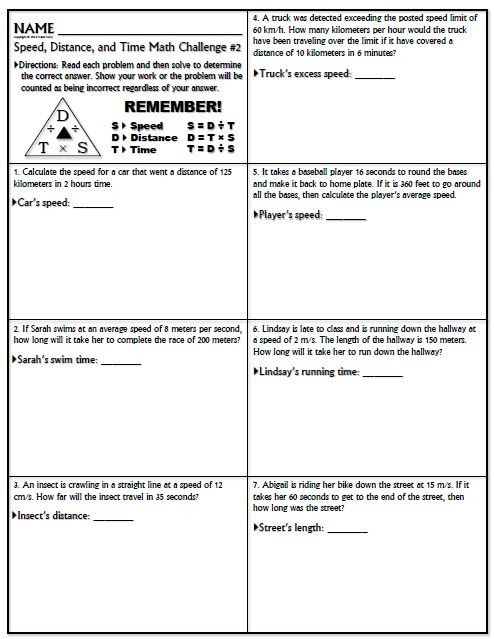 Speed Time and Distance Worksheet Worksheet Speed Math Challenge Version 1