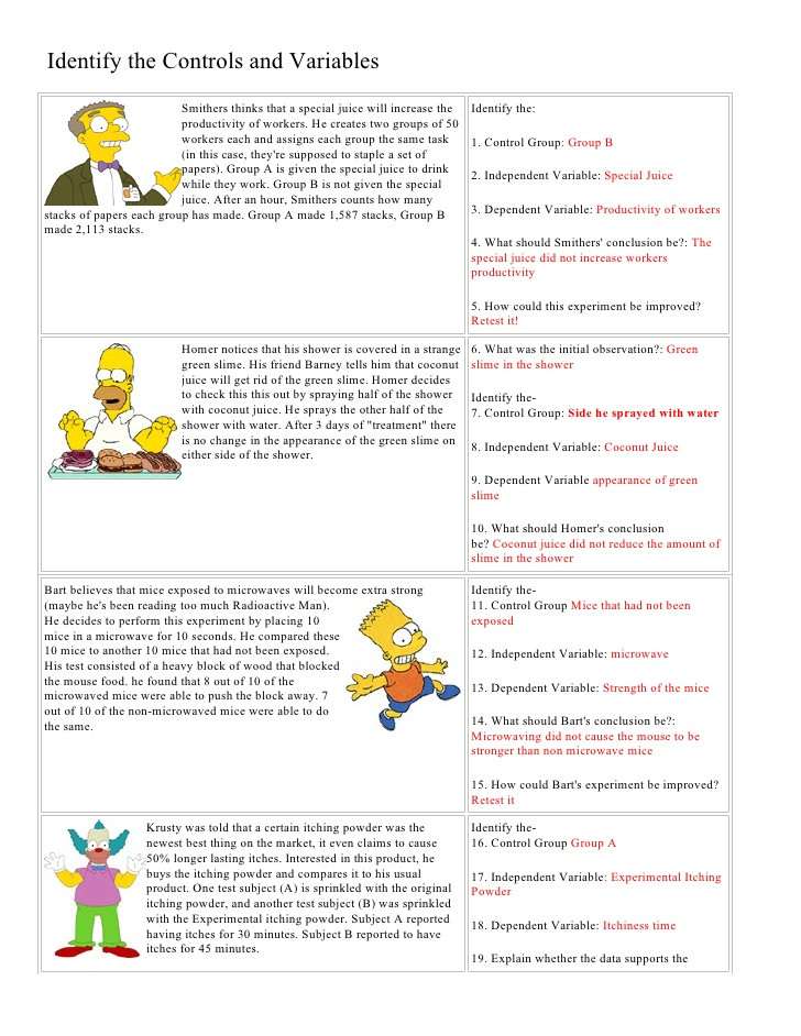 Spongebob Scientific Method Worksheet Bart Simpson Controls and Variables with Answers