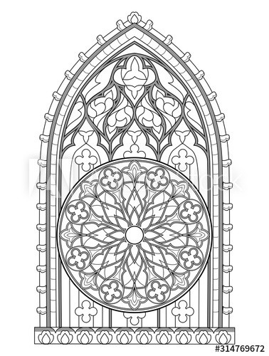 Stained Glass Windows Worksheet Black and White Fantasy Drawing for Coloring Book Beautiful