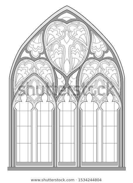 Stained Glass Windows Worksheet Black White Fantasy Drawing Coloring Book เวกเตอร์สต็อก