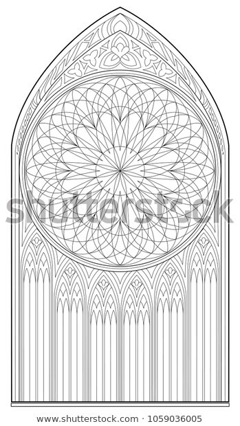 Stained Glass Windows Worksheet Black White Page Coloring Drawing Me Val เวกเตอร์สต็อก