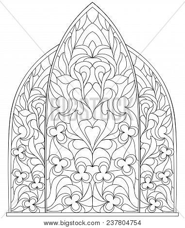 Stained Glass Windows Worksheet Black White Page Vector & Free Trial