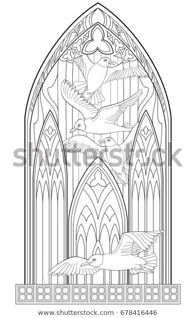 Stained Glass Windows Worksheet Page Black White Drawing Beautiful Me Val Stock Vector