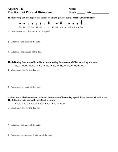 Standard Deviation Worksheet with Answers Dot Plot and Histogram Worksheet for 9th 12th Grade