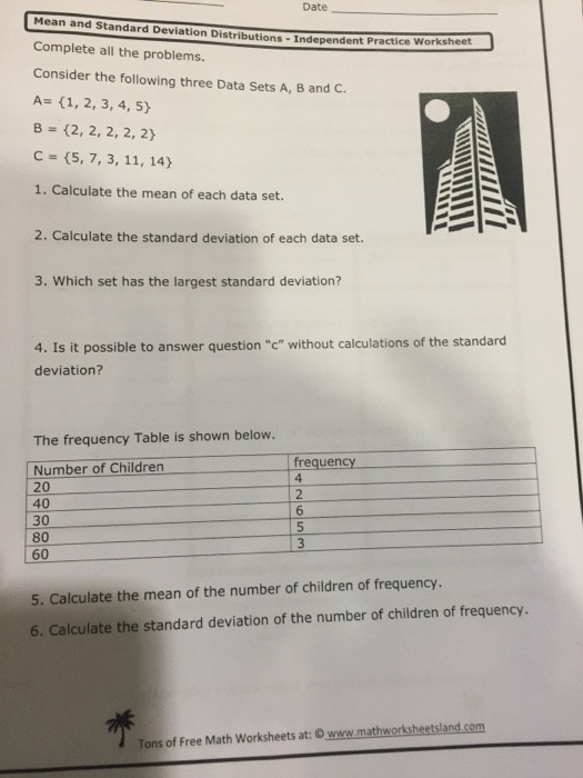 Standard Deviation Worksheet with Answers Standard Deviation Practice Problems Worksheet لم يسبق له
