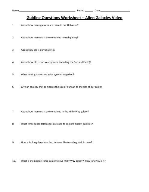 Stars and Galaxies Worksheet Answers Guiding Questions Worksheet – Alien Galaxies Video