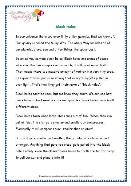 Stars and Galaxies Worksheet Answers Prehensions for Grade 3 Ages 7 9 Worksheets Passage