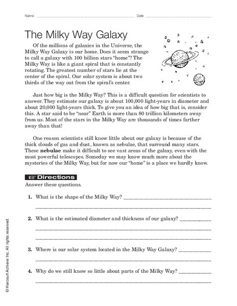 Stars and Galaxies Worksheet Answers the Milky Way Galaxy Worksheet for 7th 9th Grade