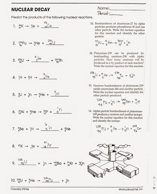 Subatomic Particle Worksheet Answers Nuclear Decay Worksheets Answers