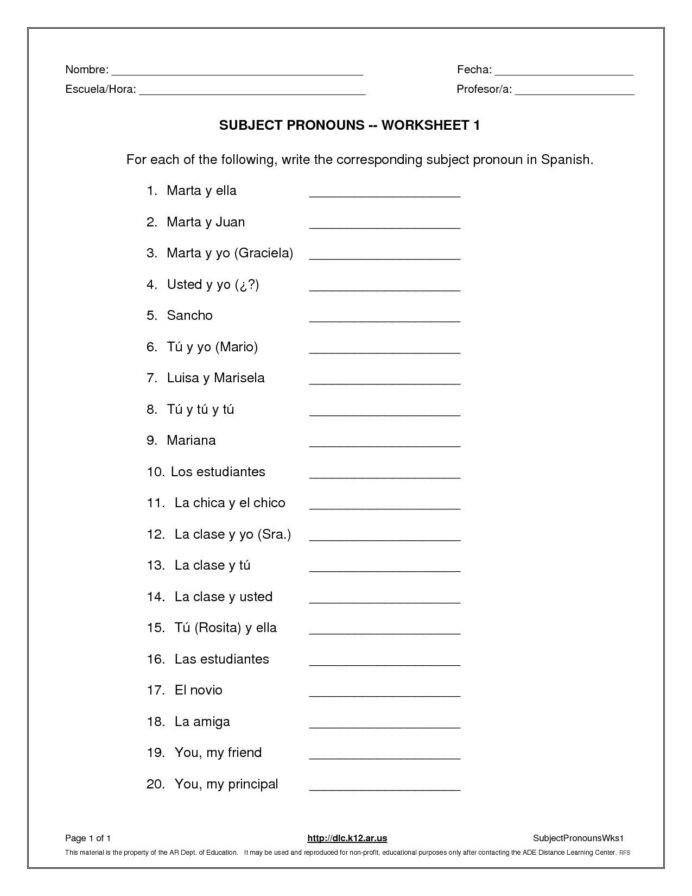 Subject Pronouns In Spanish Worksheet Subject Pronouns Worksheet Spanish Answer Worksheets and