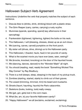 Subject Verb Agreement Worksheet Halloween Subject Verb Agreement Worksheet Tim S Printables
