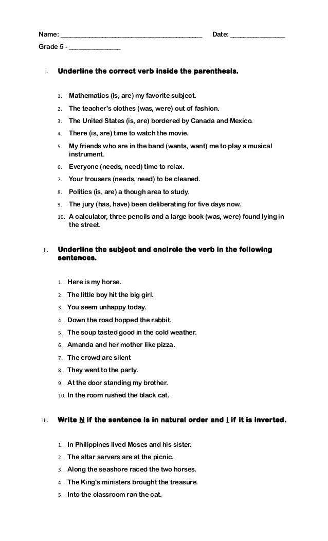 Subject Verb Agreement Worksheet Quiz Grade 5 Subject Verb Agreement