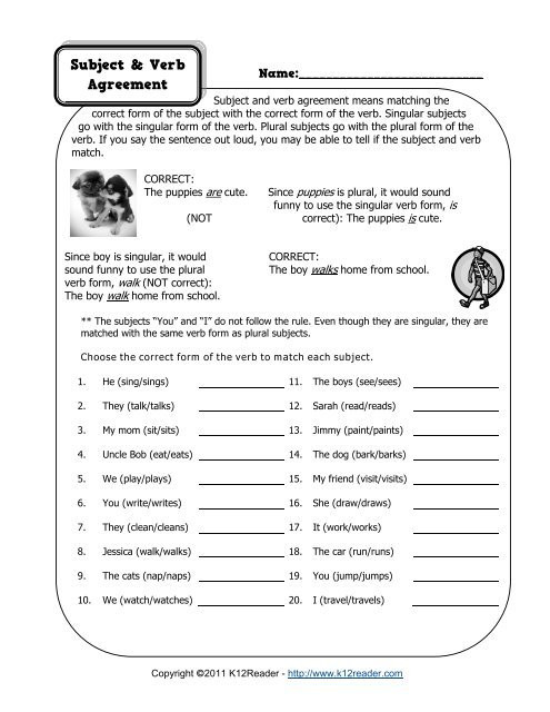 Subject Verb Agreement Worksheet Subject and Verb Agreement Worksheet