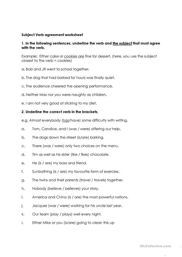 Subject Verb Agreement Worksheet Subject Verb Agreement English Esl Worksheets for Distance