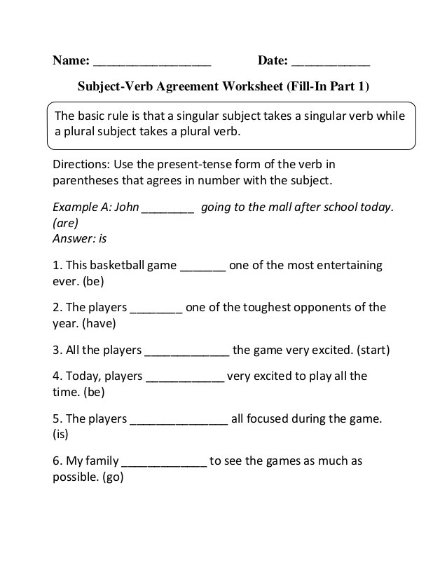 Subject Verb Agreement Worksheet Subject Verb Fill In P 1 Beginner