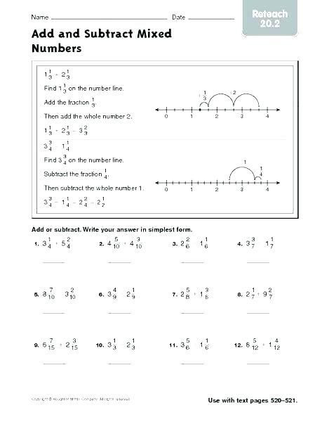 Subtracting Mixed Numbers Worksheet 22 Subtracting Mixed Numbers with Regrouping In 2020