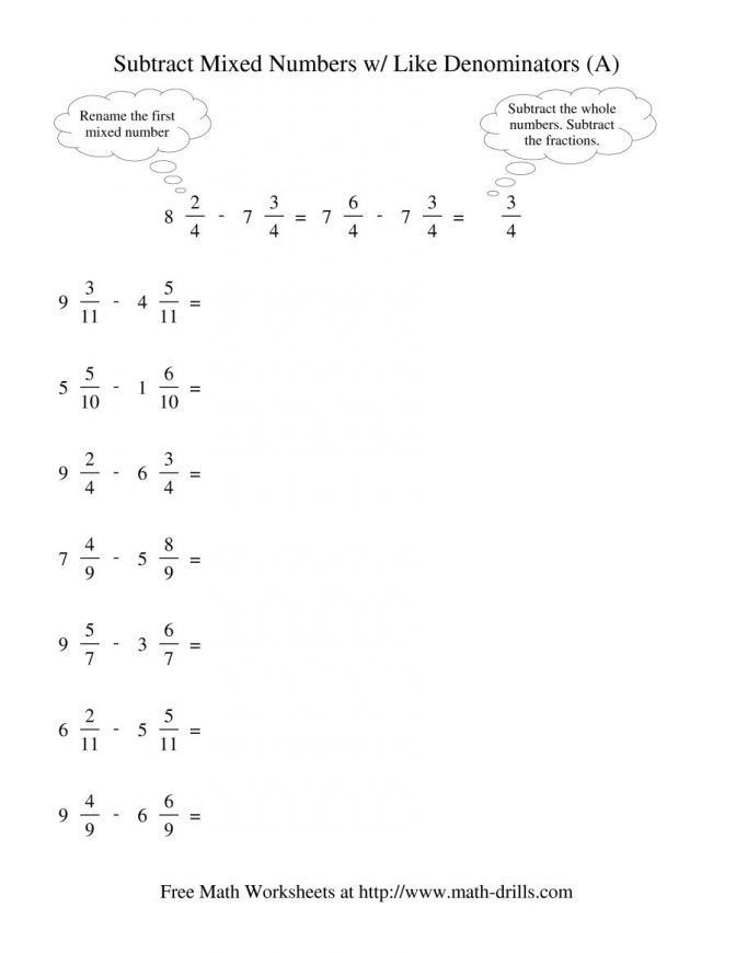 Subtracting Mixed Numbers Worksheet 30 Subtracting Mixed Numbers Worksheet In 2020