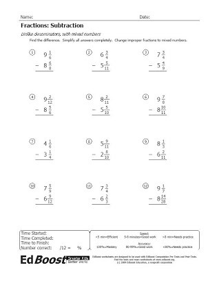 Subtracting Mixed Numbers Worksheet Adding and Subtracting Mixed Numbers with Unlike