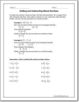 Subtracting Mixed Numbers Worksheet Adding and Subtracting Mixed Numbers Worksheet