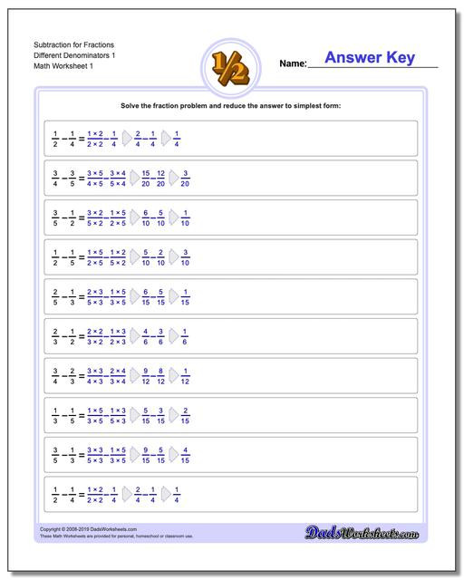 Subtracting Mixed Numbers Worksheet Fraction Subtraction