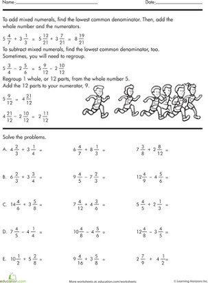 Subtracting Mixed Numbers Worksheet Free Mixed Fraction Addition and Subtraction Worksheets