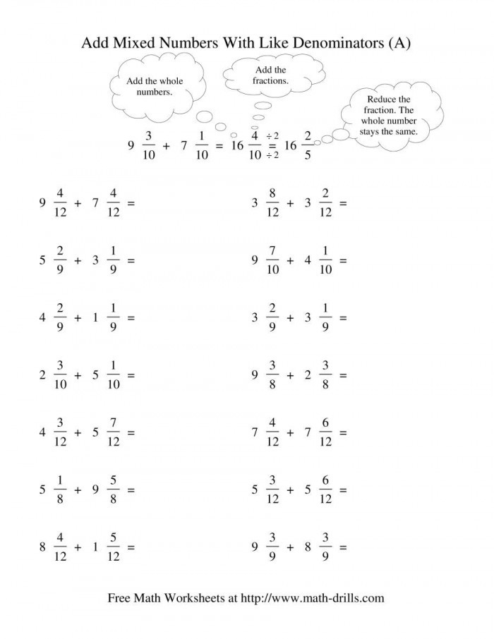 Subtracting Mixed Numbers Worksheet Mixed Fraction Subtraction with Like Denominators No