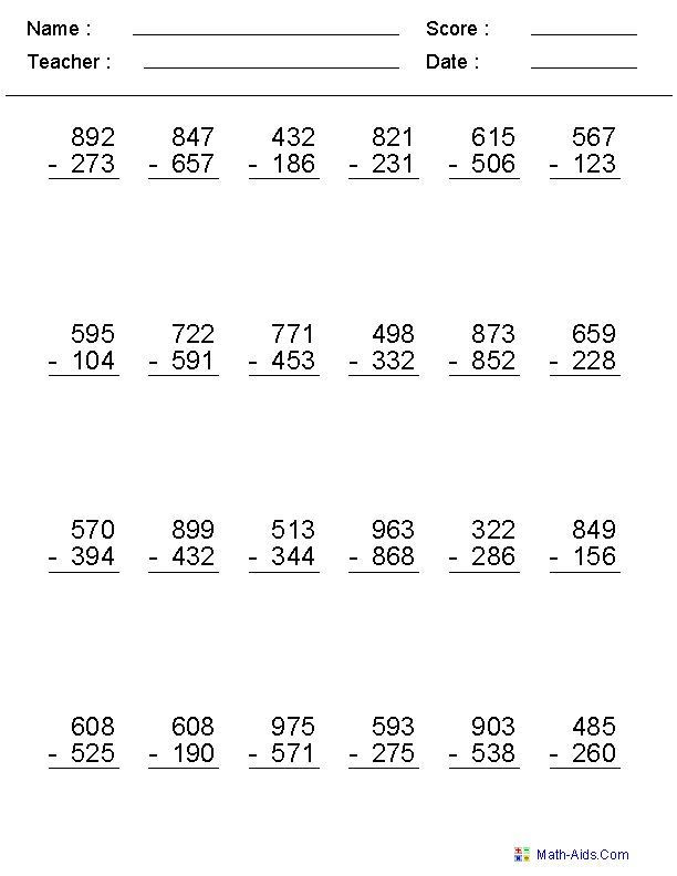 Subtraction Across Zeros Worksheet Addition & Subtraction Fluency assessment Through 10