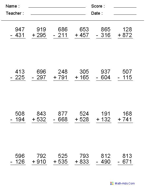 Subtraction Across Zeros Worksheet Addition and Subtraction Worksheets for Grade 4 In 2020