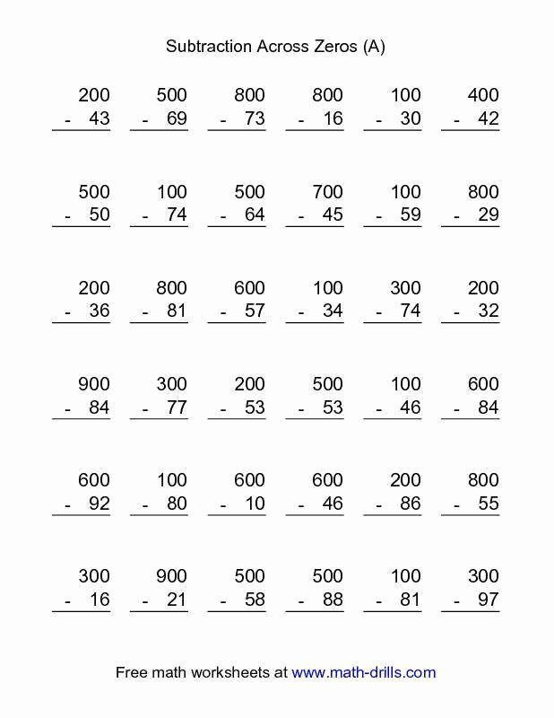 Subtraction Across Zeros Worksheet Pin On Customize Design Worksheet Line