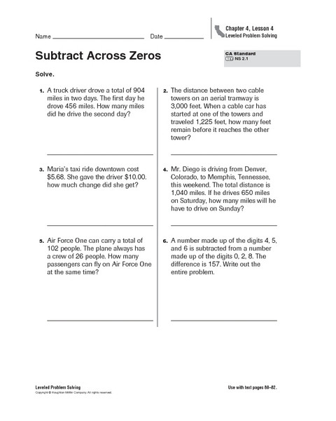 Subtraction Across Zeros Worksheet S Ubtraction Across Zeros Lessons Tes Teach