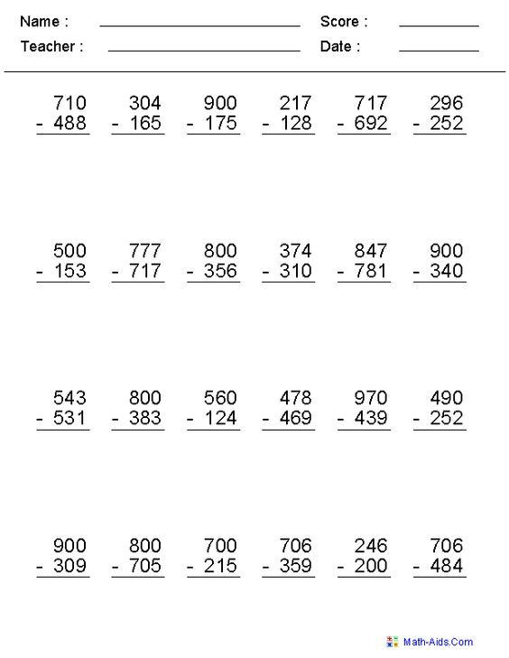 Subtraction Across Zeros Worksheet Subtraction Worksheets