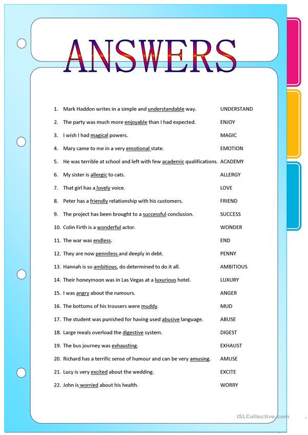 Suffix Worksheets Middle School Suffixes Adjectives formed From Nouns and Verbs English