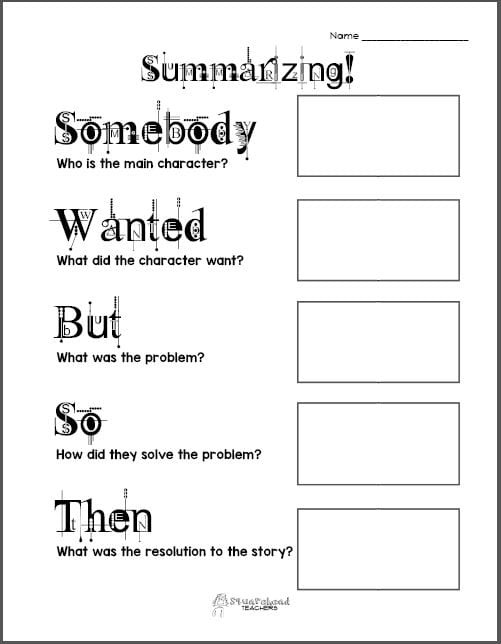 Summary Worksheets Middle School Free Printable Summarizing Graphic organizers Grades 2 4