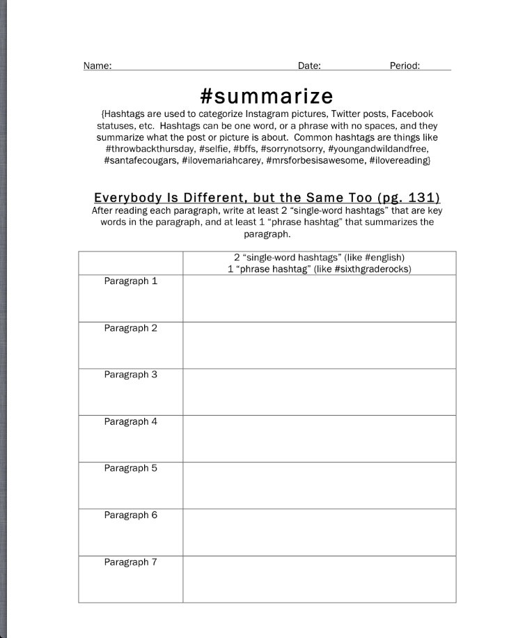 Summary Worksheets Middle School Language Arts Lessons
