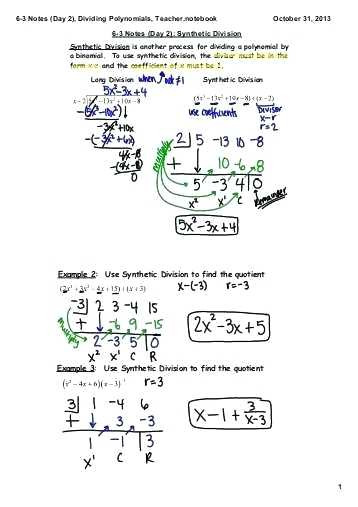 Synthetic Division Worksheet with Answers Dividing Polynomials Long and Synthetic Division Worksheet