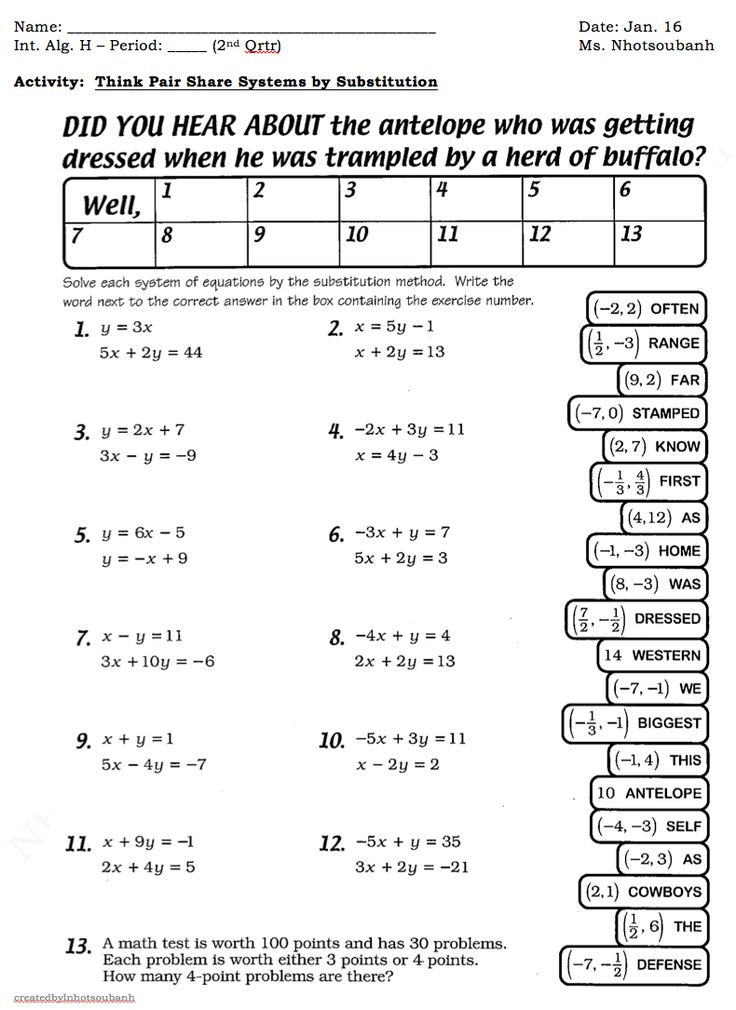 Systems Of Equations Practice Worksheet 631 Best Algebra Equations Inequalities Expressions