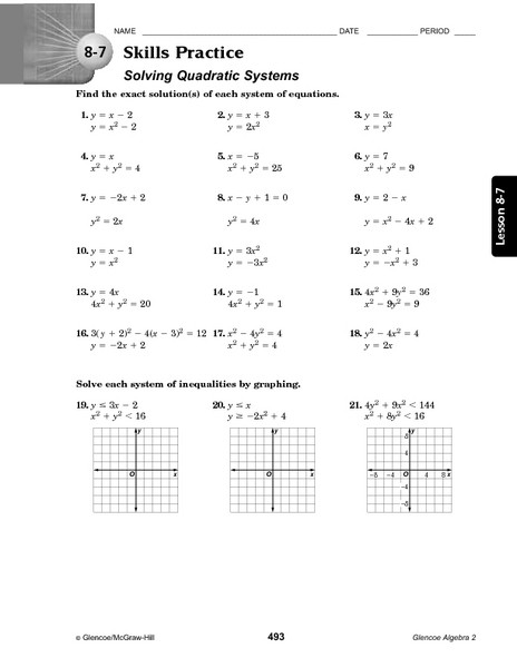 Systems Of Equations Practice Worksheet 8 7 Skills Practice solving Quadratic Systems Worksheet for