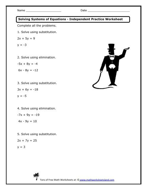 Systems Of Equations Practice Worksheet solving Systems Of Equations Independent Practice Worksheet